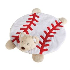 "Ribbed velour baseball play mat features long pile plush bear head and paws with baseball stitching appliques. Reverse is solid velour. Size: 25"" x 25"""