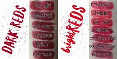 LipSense Lip Colors: The Reds Collection - Christmas-Desserts Lipsense Lip Colors, Blue Acrylic Nails, Lip Colour, Red Bricks, Red S, Christmas Desserts, Skin Treatments, Caramel Apples, Lip Makeup