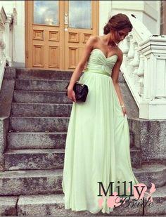 A-line strapless v-neck sage sash tulle Prom Dresses 2012 PDM353