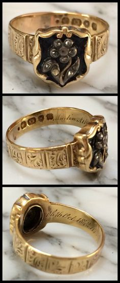 Antique Victorian 18k gold mourning ring with black enamel and diamond forget-me-not flower, circa 1880's.