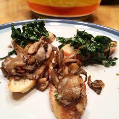 Home made mushroom and kale crostini