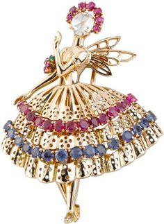 Van Cleef & Arpels Ballerina brooch: yellow gold, rubies, sapphires, emeralds, 1947