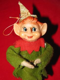 Vintage Elf Pixie Xmas Ornaments Green by TheIDconnection on Etsy, $18.00