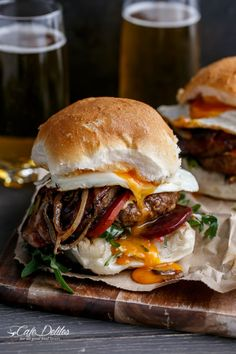 Top a beer soaked patty with crispy bacon, caramelized pineapple, melted cheese, and egg for a total food-gasm. Get the recipe from Cafe Delites.
