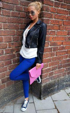 cobalt blue and leather jacket ♥
