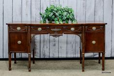 Regency style mahogany sideboard buffet with 4 drawers, 1 door, interior shelf. www.stillgoode.com