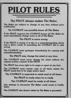 Pilot's rules