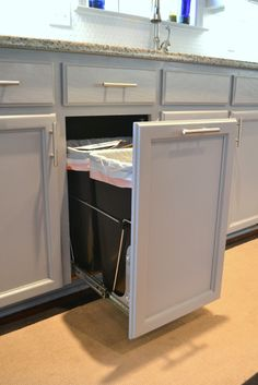 How to Build a Pull Out Trash and Recycling Bin | Pinterest | Trash ...