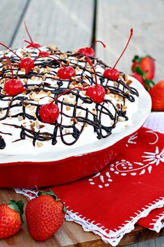 No-Bake Mile High Banana Split Pie on MyRecipeMagic.com