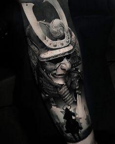 Samurai warriors by Thomas Carli Jarlier, tattoo artist & owner of Noire Ink, Clermont-Ferrand, France. Samurai Maske Tattoo, Samurai Tattoo Sleeve, Samurai Warrior Tattoo, Warrior Tattoos, Japanese Mask Tattoo, Japanese Tattoo Designs, Japanese Sleeve Tattoos, Japanese Warrior Tattoo, Japan Tattoo Design