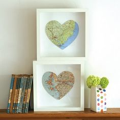map hearts    hearts are my favorite shape and these look SO cool, what an awesome idea