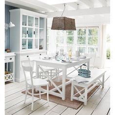 Panca da tavolo in legno bianco Newport