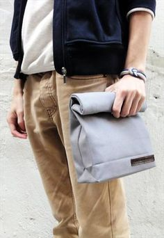 Lunch Bag Inspired Canvas Clutch £25.00