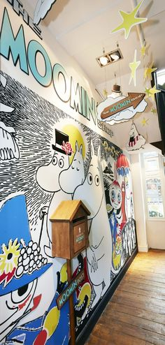 Bright Moomin display from Plan Moomin Shop, Moomin Valley, Visual Merchandising Displays, Retail Interior, Retail Design, Cool Stuff, Creative, Prints, Bright
