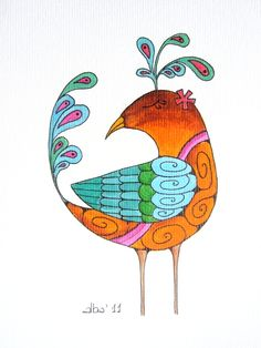 Bird - Alba Calaf #illustration #acrylic Inspired by Holly Kitaura paintings