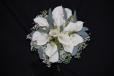 Wonderful winter time bouquet with white mini callas, million star baby's breath and seeded eucalyptus.