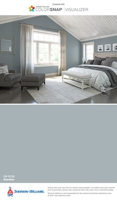 Produce the cosiest cocoon in your sleeping area with these colour suggestions and tricks for . bedroom paint colors I found this color with ColorSnap® Visualizer for iPhone by Sherwin-Williams: Breezy (SW Room Colors, House Colors, Sherwin Williams Paint Colors, Bedroom Colors, Paint Colors For Home, Home, Remodel Bedroom, Matching Paint Colors, Room Paint