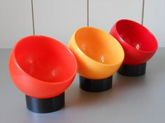 Awesome set of three 70s vintage plastic snack bowls in orange, red and yellow. Made by Emsa, West Germany by FranzsFavorites on Etsy https://www.etsy.com/listing/211386841/awesome-set-of-three-70s-vintage-plastic