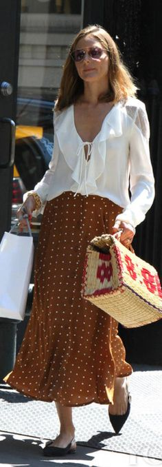 Who made Olivia Palermo's brown polka dot skirt, black bow ballet flat shoes, and white ruffle lace top?