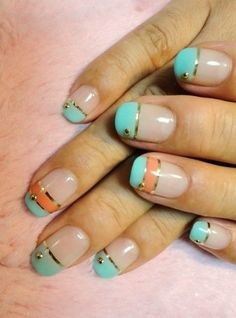 Liven up a basic french manicure with summery pastels. | 28 Colorful Nail Art Designs That Scream Summer