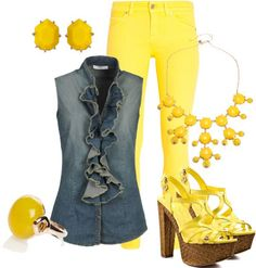 LOLO Moda: #yellow #outfit,  http://lolomoda.com/fashionable-outfits-for-summer-2014/