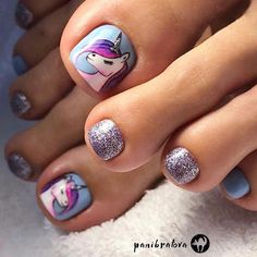 Fabulous Ideas For Toe Nail Art With Unicorns For Dreamy Girls The freshest and most beautiful nail designs for toes for the summer vacation. Pedicure Nail Art, Toe Nail Art, Nail Art Designs, Pedicure Designs, Nails Design, Nails For Kids, Girls Nails, Kid Nails, Beautiful Nail Designs