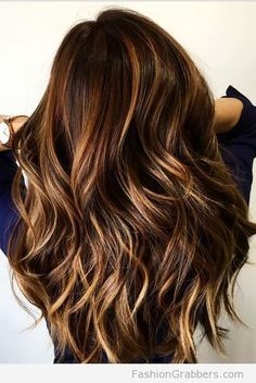 Blonde and cinnamon balayage for fall in chocolate brown hair! <3