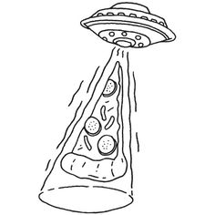 Aliens love pizza too. Easy Drawings, Tattoo Drawings, Tattoo Sketches, Pizza Drawings, Pencil Drawings, Doodle Art, Art Inspo, Art Sketches, Illustration Art