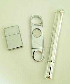 engraved cigar cutter, tube + lighter