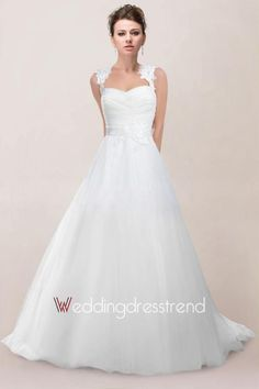 [$179.99] Romantic Appliqued Ruched Princess Wedding Dress with Buttons and Sash