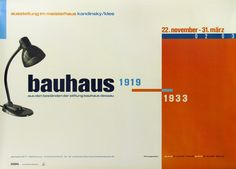 This is a very good example of The New Typography, the 1920s movement in graphic design that was promoted at the Bauhaus. Even though this poster was designed eighty years later in 2002, it shows the New Typography principles of asymmetry and grid layout. Note the alignments of text, the reversals of letters and numbers, and the contrast of type size and colour. These features create movement and energy – the eye moves freely around the design.