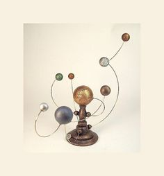 ORRERY Miniature Alien Sun and Planet System Table Sculpture in Wood by The Builder's Studio $80