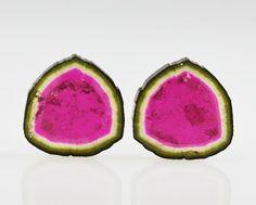Large Fine Watermelon Tourmaline Slices Polished Pair 26.55carats