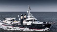 The metre go-anywhere Feadship explorer Sherpa has been captured underway in the North Sea. The RWD-designed yacht was undertaking sea trials after undergoing maintenance work at Feadship in the Netherlands. Explorer Yacht, Deck Boat, Below Deck, Cool Boats, Yacht Design, Super Yachts, North Sea, Open Water, Luxury Yachts