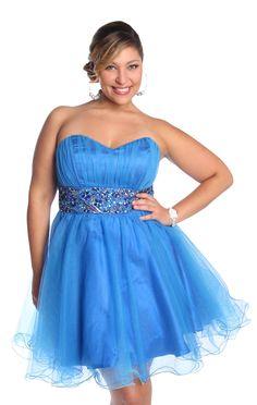 plus size sweetheart two tone mesh homecoming dress  $82.50