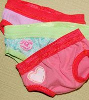 doll undies...one piece of fabric and fold over elastic//my girls always question the doll's lack of panties!