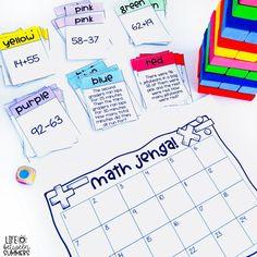 Jenga Game Cards: Engaging Math & Literacy Center Activities for the Classroom - Life Between Summers Math Tutor, Math Literacy, Math Classroom, Guided Math, Ks2 Maths, Numeracy, Fun Math Games, Math Activities, Jenga Game