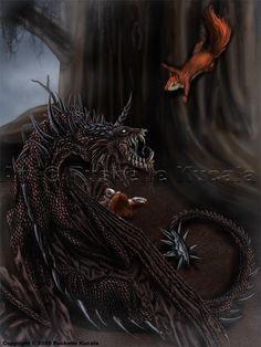 nidhogg and ratatosk- the squirrel Ratatosk spreads discord between the eagle at the top of Yggdrasil and the dragon beneath Fantasy Inspiration, Autumn Inspiration, Tattoo Inspiration, World Mythology, Greek Mythology, Mythological Creatures, Mythical Creatures, Viking Myths, Tales Of Graces