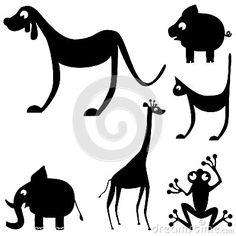 Siluetas de animales lindos y divertidos en vector. Elefante, rana, jirafa, cerdo, gato y perro.