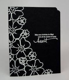 handmade card from Anjillic Creations: Make It Monday Challenge #9 ... black card .... white embossed flower outlines ... one layer ... dramatic look ... like it!
