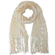 Luxury Divas Light Beige Long Beautifully Crocheted Wide Open Knit Scarf Shawl