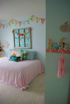 Great idea for Caroline's big girl room. Same paint color and window frame she has now.