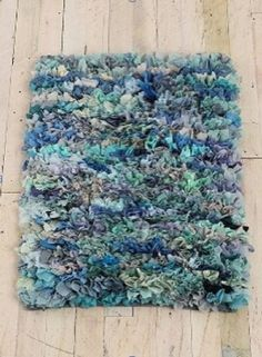 T-shirt latch hook rug. Jersey knit is better because it is less stretchy