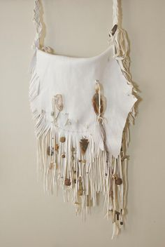 White Fringed Beaded Purse by HollyHawkDesigns on Etsy, $275.00