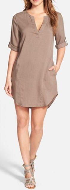 soft chambray shift dress