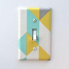 Light Switch Plate Cover, wall decor - blue, green, gray geometric pattern. $6.00, via Etsy.