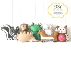Stuffed Animal Patterns, Felt Animal Patterns, Woodland Animals, Plush Skunk Beaver Frog Owl Hedgehog Fox, Hand Sewing