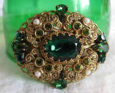 Fantastic Large West Germany Brooch Emerald от Cowdogger на Etsy