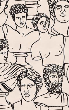 Greek Statue Wallpaper   Line Drawing Design   MuralsWallpaper
