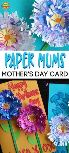If you're looking for an easy homemade Mother's Day card for kids to make, these Paper mums cards are adorable! All you need are some paper circles, scissors and glue. #HappyHooligans #KidsCrafts #CraftsForKids #DaycareCrafts #KidsArt #ArtForKids #CraftsForTweens #FlowerCrafts #HomemadeCards #MothersDay #PaperCrafts #PaperFlowers #PaperMums #MumPuns